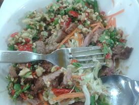 Spicy pork salad. Yum. So yum. Also good in beef.