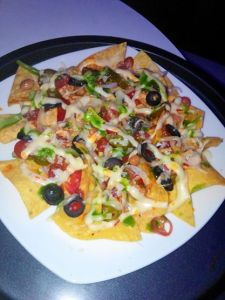 Nachos. Better than they looked, flash in a club never comes out right.